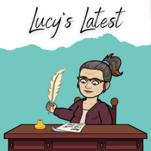 Cartoon image of Lucy Monroe at a writing desk with the words Lucy's Latest above her head